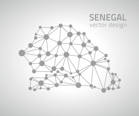 Senegal grey dot vector geometry modern map