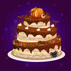funny cartoon chocolate and a big cake for Halloween party