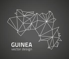 Guinea black dark contour vector map