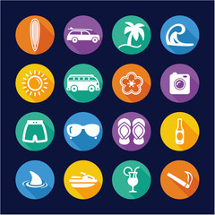 Surfing Icons Flat Design Circle