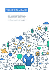 Welcome to Ukaine- line design brochure poster template A4