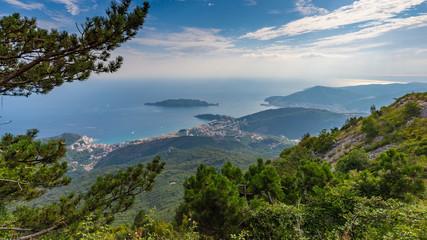 Landscape of the coastline of Budva Riviera from the mountain.