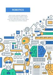 Robotics - line design brochure poster template A4