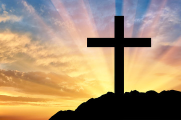 Religion Christianity. Cross silhouette