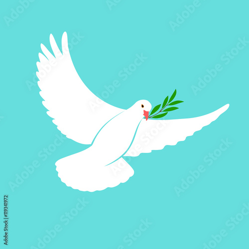 White Dove Vector Icon With Olive Branch Peace Symbol Pigeon