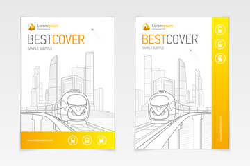 Cover booklet business architecture and transport, modern design, gold and grey, icons and logo, vector sample design