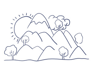 mountains landscape drawing isolated vector illustration design
