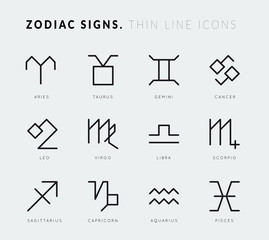 Zodiac signs. Thin line icons