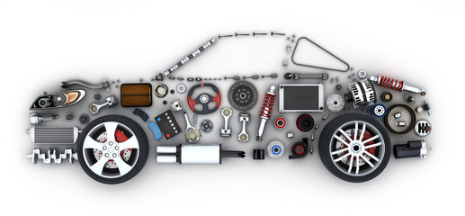 Abstract car and many vehicles parts