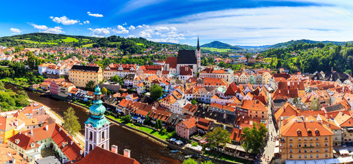 View of old Bohemian city Cesky Krumlov, Czech Republic. UNESCO World Heritage Site