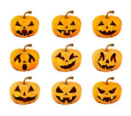 set of yellow pumpkins for Halloween