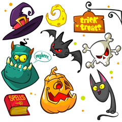 Set of Halloween pumpkin and attributes. Witch cat, witch hat, moon,monster, pumpkin head,book of spells, skull and bat