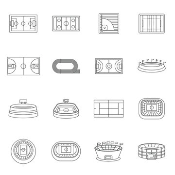 Sport stadium icons set in outline style. Sport fields set collection vector illustration