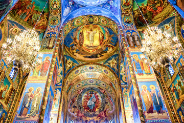 Interior of the church of the Savior on Spilled Blood, St Petersburg Russia