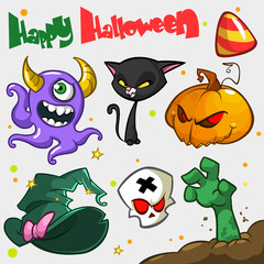 Vector set of Halloween pumpkin and attributes icons. Witch cat,