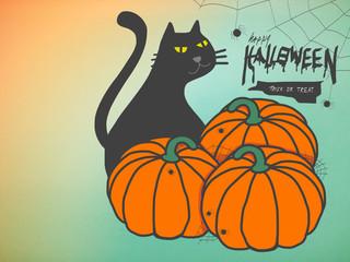 Wall Mural - Black cat and pumpkins happy Halloween illustration