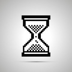White pixelated computer cursor in hourglass shape, icon with shadow