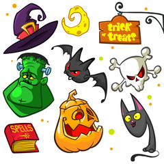 Set of Halloween pumpkin and attributes icons. Witch cat, pumpkin, monster, book of spells, skull, grem reaper, bat, witch hat, moon, cat