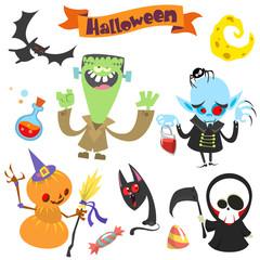 Cute cartoon halloween characters icon set.Frankenstein, pumpkin head, bat, witch cat, vampire and grim reaper. Vector illustration