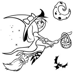 Vector funny Halloweenwitch flying on her broom.Black outline on white isolated background