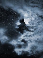 Blue full moon night