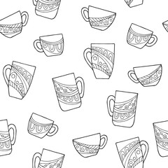 Cup doodle graphic art black white seamless pattern illustration vector