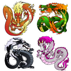 Set four artful Asian color dragon