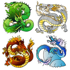 Set four majestic Asian color dragon