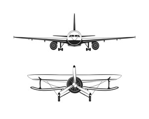 Aircraft Labels set. Isolated Planes Vector Illustration