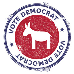 Grunge democrat donkeys rubber stamp. USA presidential election patriotic seal with democrat donkeys silhouette and Vote Democrat text. Rubber stamp vector illustration.