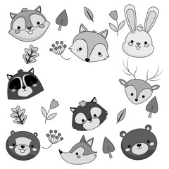 flat design forest animals pattern icon vector illustration