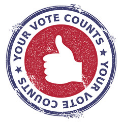 Grunge thumb up rubber stamp. USA presidential election patriotic seal with thumb up silhouette and Your Vote Counts text. Rubber stamp vector illustration.