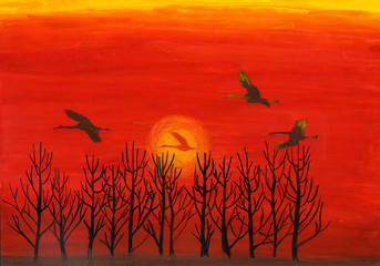 Sunset watercolor painting with flying bird silhouettes