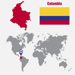 Columbia map on a world map with flag and map pointer. Vector illustration