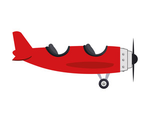 flat design airplane two cabin icon vector illustration