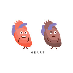 Healthy vs Unhealthy Heart Infographic Illustration