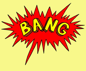 Comics style stamp of bang. Sticker emotion of explode. Colorful bright illustration.