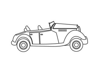 flat design vintage convertible car icon vector illustration