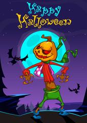 Halloween scary pumpkin head scarecrow. Vector banner for Halloween party