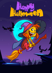 Cute witch flying on her broom. Vector Halloween party invitation