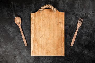 Fotoväggar - Old wooden cutting board