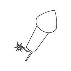 flat design flying firecracker icon vector illustration