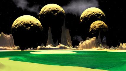 Fantasy alien planet. Moon. 3D endering