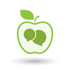 Isolated  line art apple icon with  comic balloons