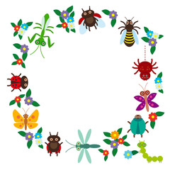 Funny insects Spider butterfly dragonfly mantis beetle wasp ladybugs on white background. Vector