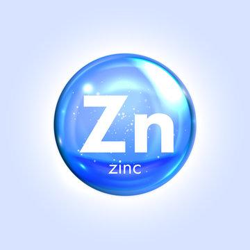 Zinc mineral blue icon. Vector 3D drop pill capsule