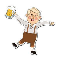 flat design bavarian man with beer icon vector illustration