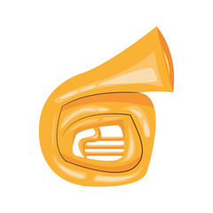flat design french horn cartoon icon vector illustration