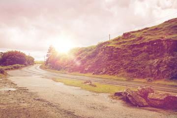 asphalt road at connemara in ireland