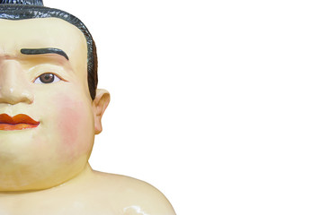 Fat Face Sumo Doll Isolated On White Background